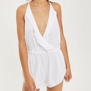 NWT TopShop White Frill Wrap PlaySuit Romper M